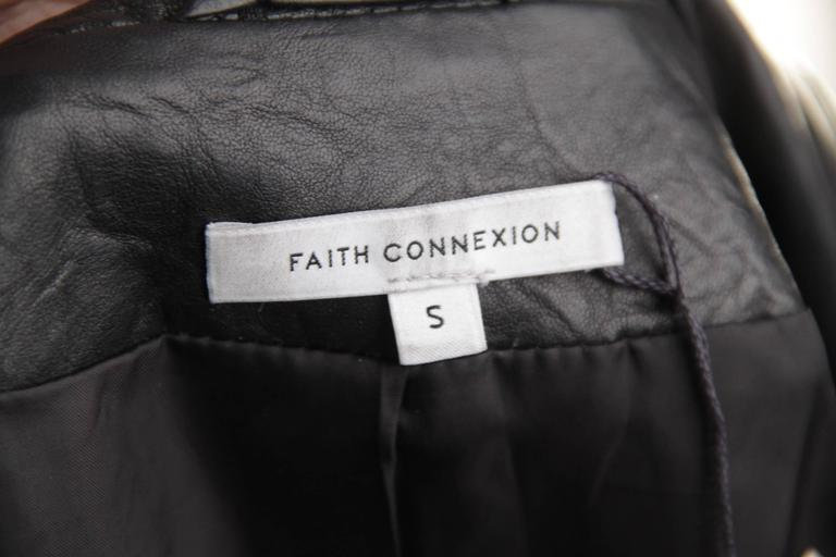 FAITH CONNEXION Black Crease Effect LEATHER BLAZER Jacket SIZE S  For Sale 5