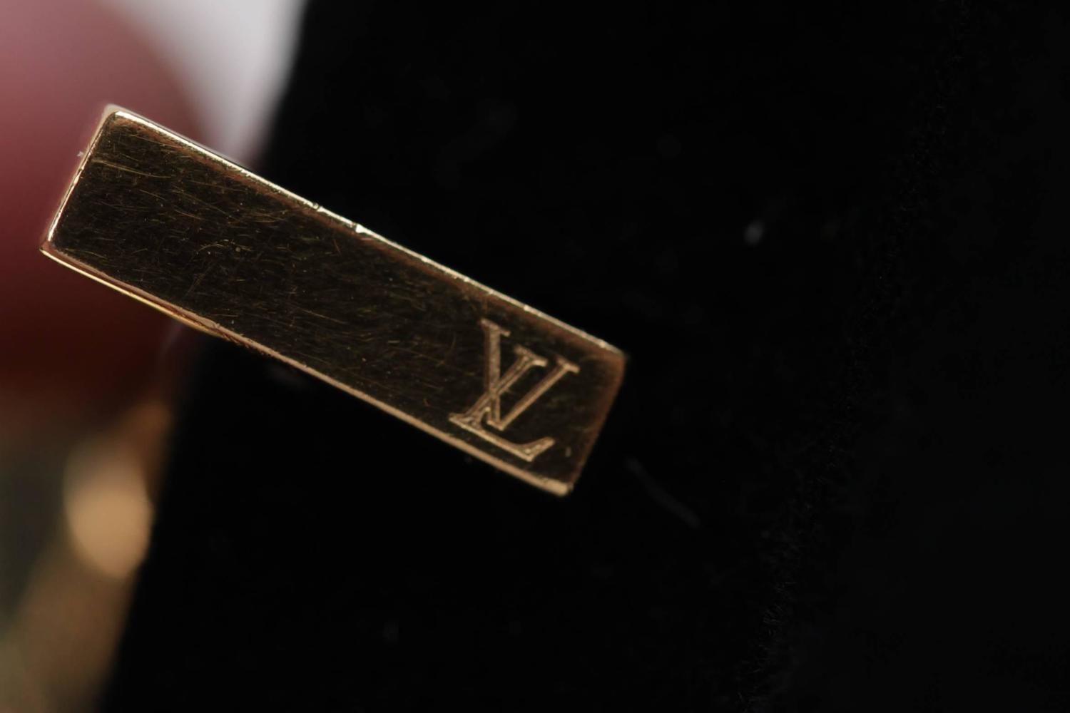 LOUIS VUITTON Gold Plated 925 Sterling Silver FLOWER Logo ...
