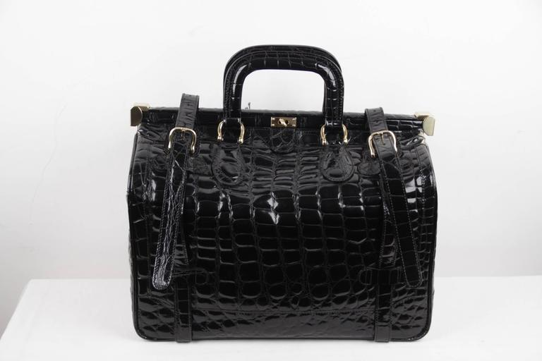 ALDO RAFFA Italian Black EMBOSSED Patent Leather TRAVEL BAG Carry On SUITCASE In Good Condition For Sale In Rome, Rome