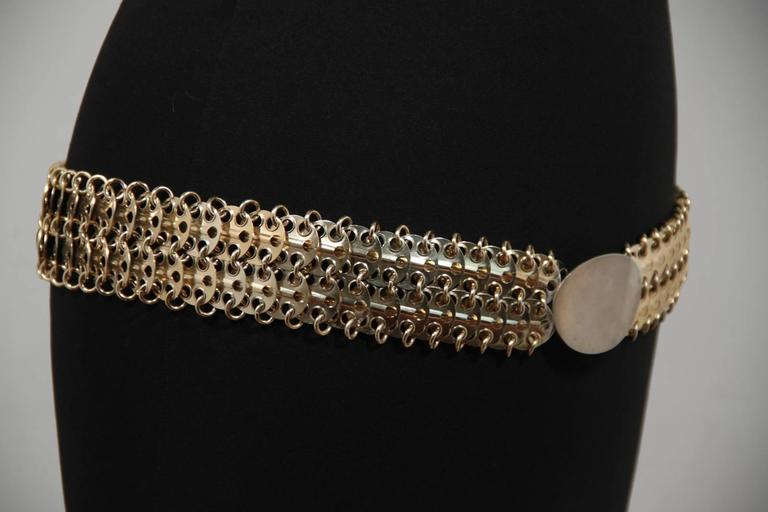 Brown  PACO RABANNE Vintage Gold Metal Chain Mail BELT Oval Shaped Front For Sale