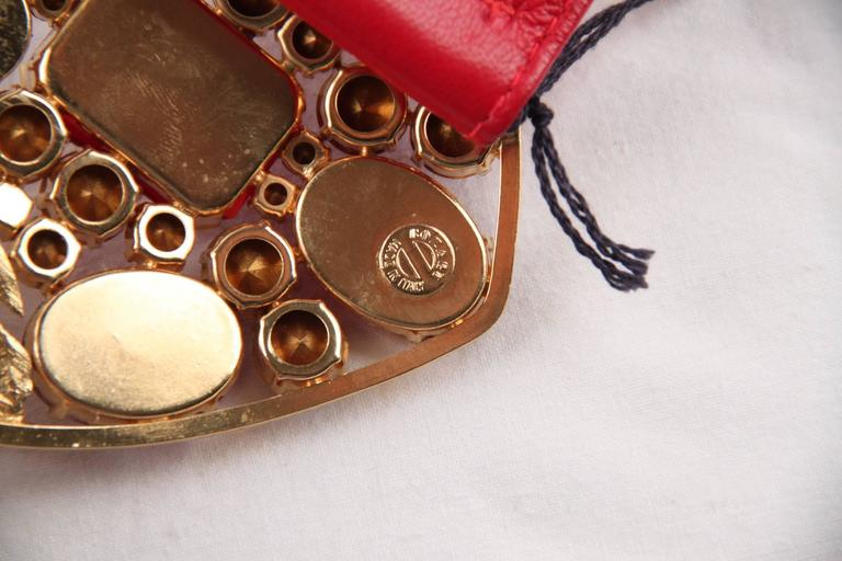 BOZART Italian VINTAGE Red Leather WIDE BELT w/ Embellished HEART BUCKLE  In Good Condition For Sale In Rome, IT