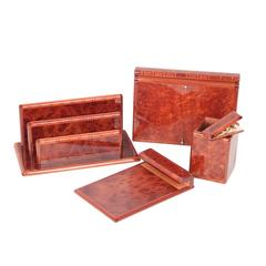 HERMES Vintage Laquered Burl Wood 5 PIECES DESK SET