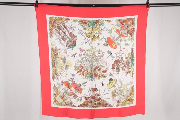 gucci silk crepe vintage red border mushrooms scarf accornero for sale at 1stdibs