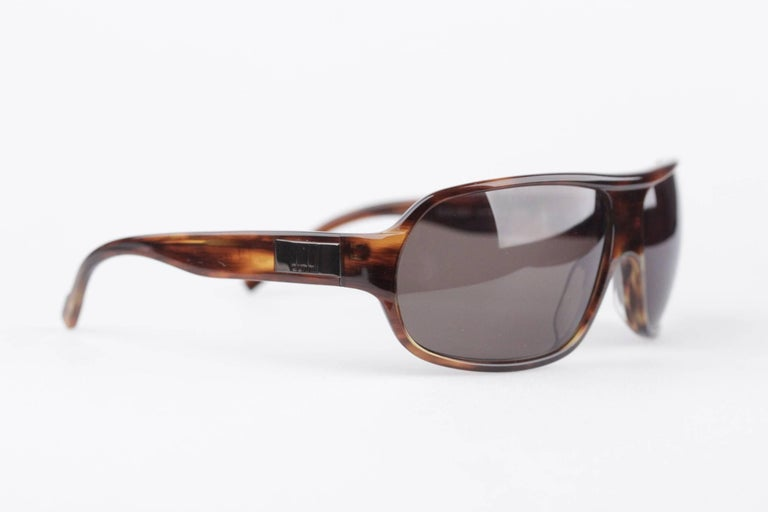 Gray DUNHILL Brown Tortoise SUNGLASSES DU51503 67/16 120 Wrap Shades with CASE For Sale