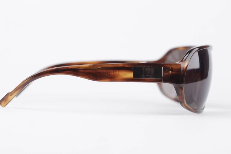 DUNHILL Brown Tortoise SUNGLASSES DU51503 67/16 120 Wrap Shades with CASE In New never worn Condition For Sale In Rome, IT
