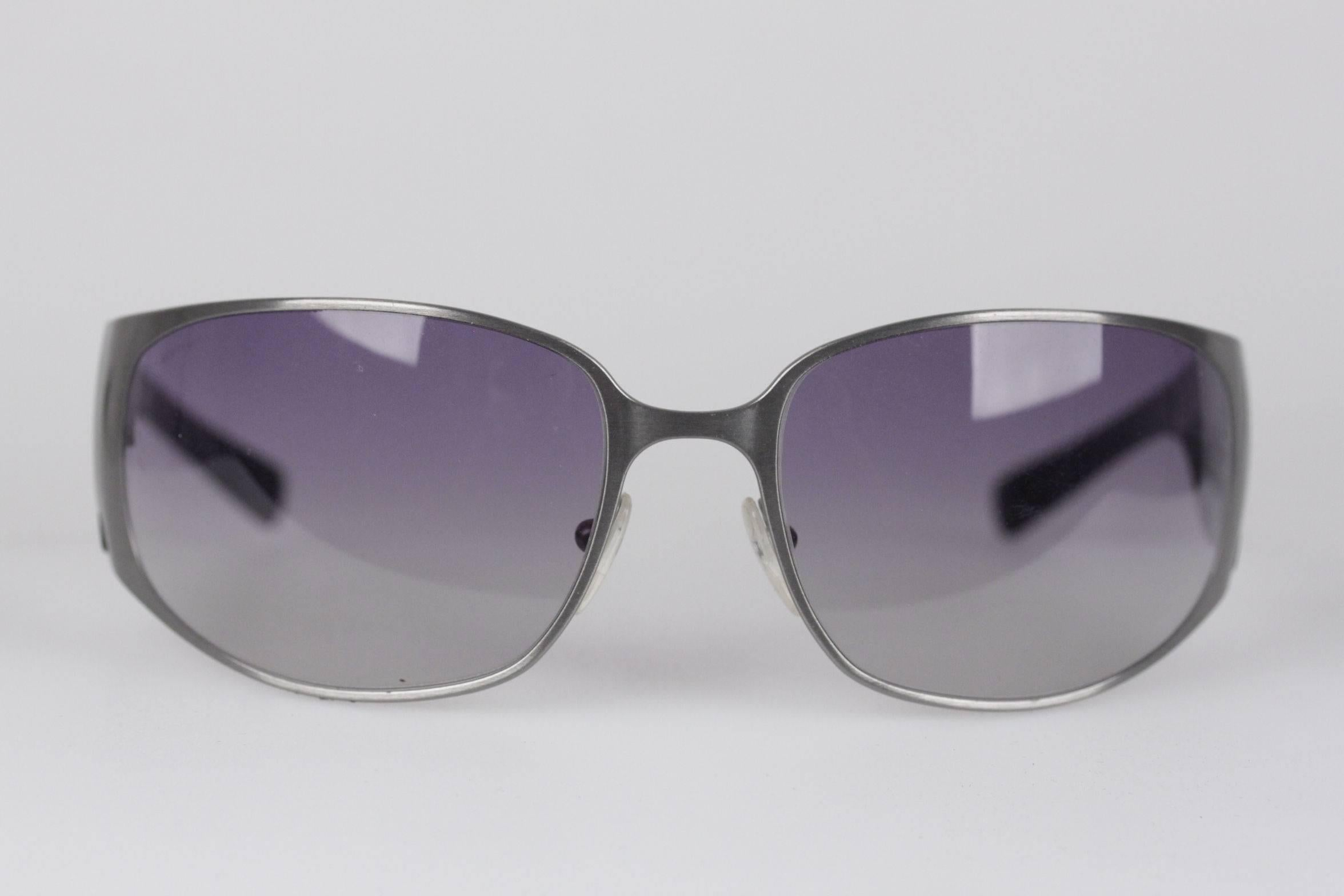 a173fe6e980e ... greece prada new wrap silver metal and black womens sunglasses spr 50g  63mm 115 for sale