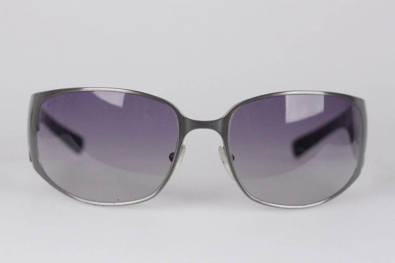 a7437831e5ee PRADA NEW Wrap Silver Metal and Black womens Sunglasses SPR 50G 63mm ...
