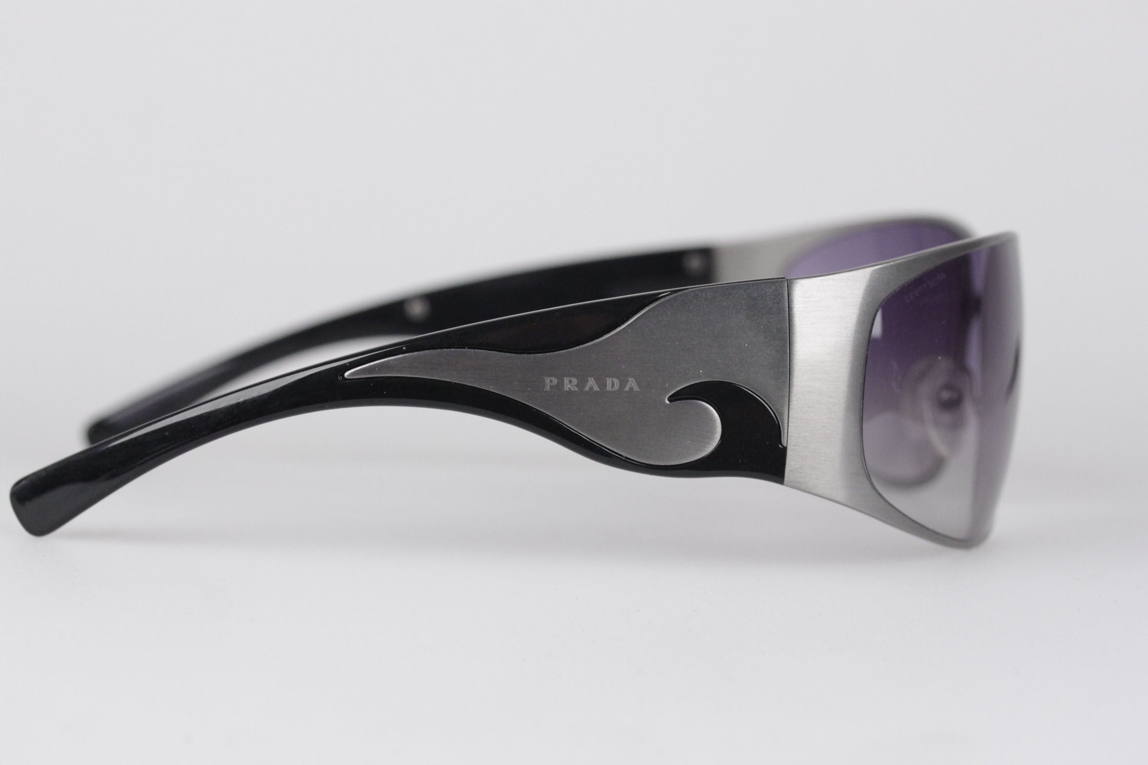 3dc6263efd40 PRADA NEW Wrap Silver Metal and Black womens Sunglasses SPR 50G 63mm 115  For Sale at 1stdibs