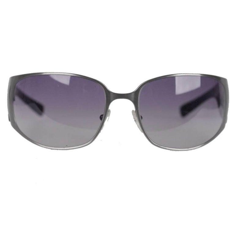 36e9f18f16b5 PRADA NEW Wrap Silver Metal   Black womens Sunglasses SPR 50G 63mm 115 For  Sale