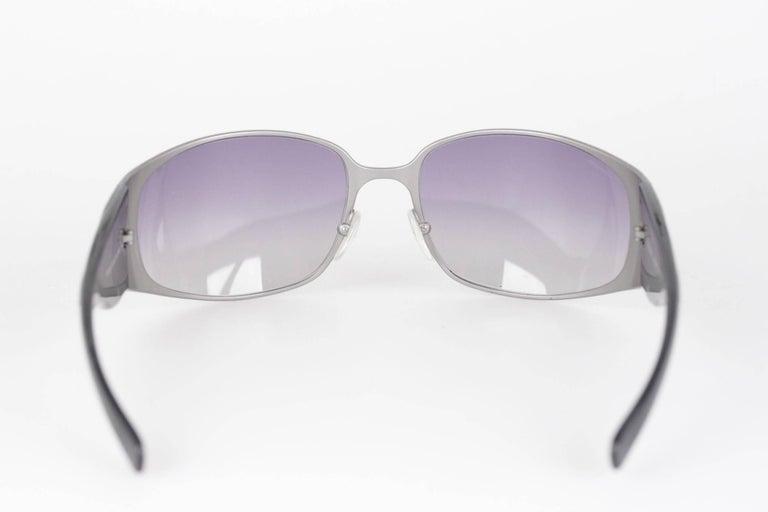 c402b06183eb PRADA NEW Wrap Silver Metal   Black womens Sunglasses SPR 50G 63mm 115 For  Sale 4
