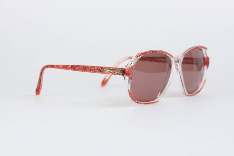 Brown YVES SAINT LAURENT Vintage Marbled RED MINT Sunglasses NAXOS 825 56mm For Sale