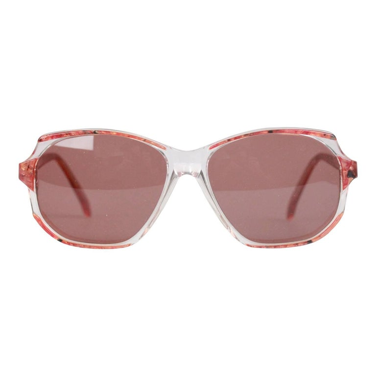 YVES SAINT LAURENT Vintage Marbled RED MINT Sunglasses NAXOS 825 56mm For Sale