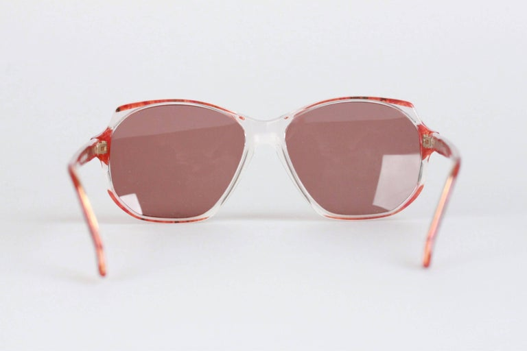 Women's YVES SAINT LAURENT Vintage Marbled RED MINT Sunglasses NAXOS 825 56mm For Sale