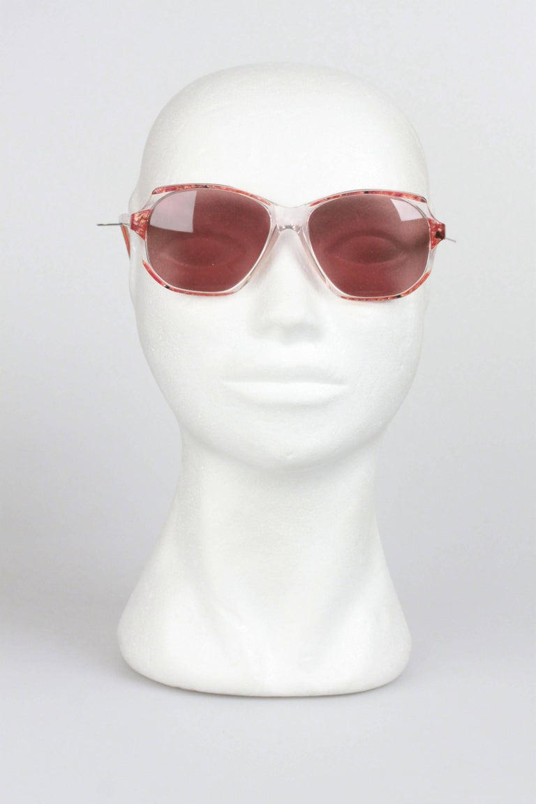YVES SAINT LAURENT Vintage Marbled RED MINT Sunglasses NAXOS 825 56mm For Sale 4