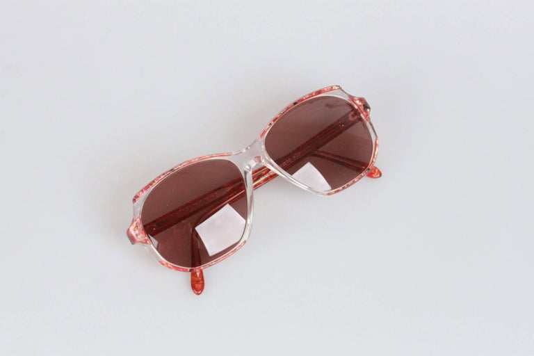 YVES SAINT LAURENT Vintage Marbled RED MINT Sunglasses NAXOS 825 56mm For Sale 3