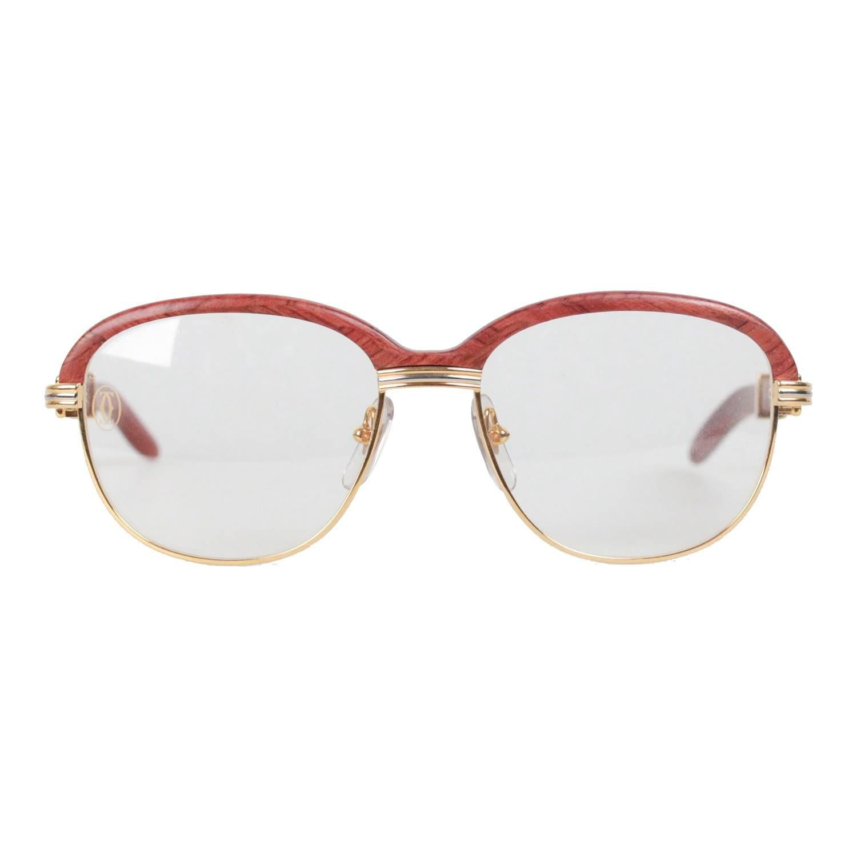 79cb13840fd ... CARTIER VINTAGE 1990 Rare MALMAISON Sunglasses BUBINGA WOOD For Sale