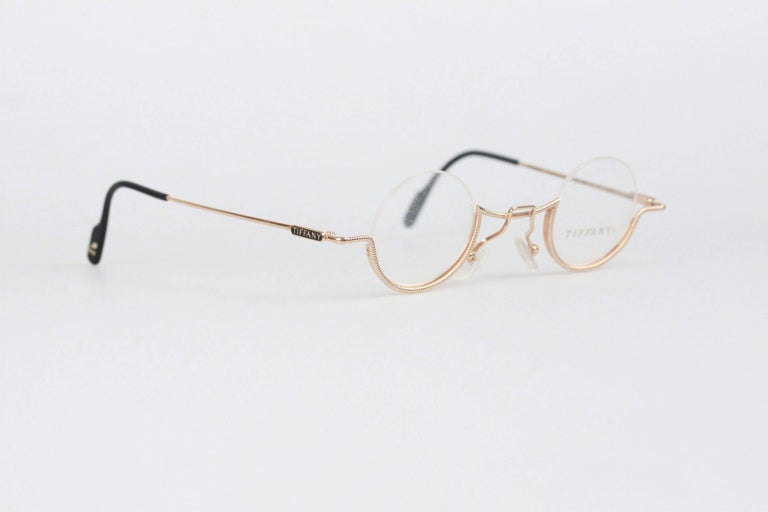 TIFFANY and Co. VINTAGE RARE Round Eyeglasses T64 23K Gold 37/11 at ...