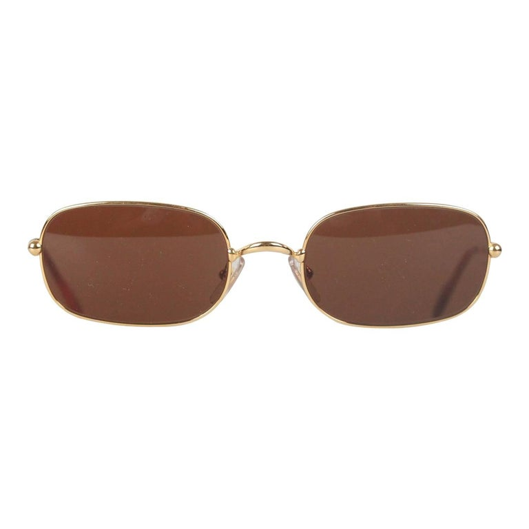 MUST DE CARTIER VINTAGE Gold Metal Rectangular SUNGLASSES 2012116 54/21