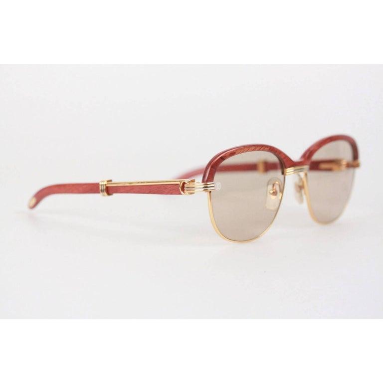 6a1814e17da CARTIER Paris MALMAISON Palisander ROSEWOOD Rare Gold Sunglasses 56 ...