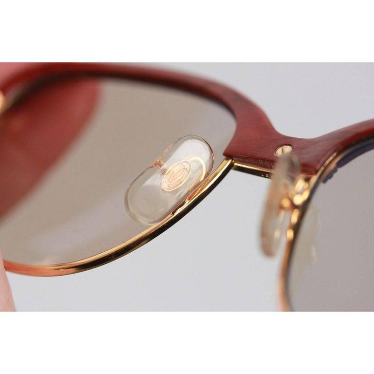 185f03d02f CARTIER Paris MALMAISON Palisander ROSEWOOD Rare Gold Sunglasses 56-19 135B  NOS For Sale 4