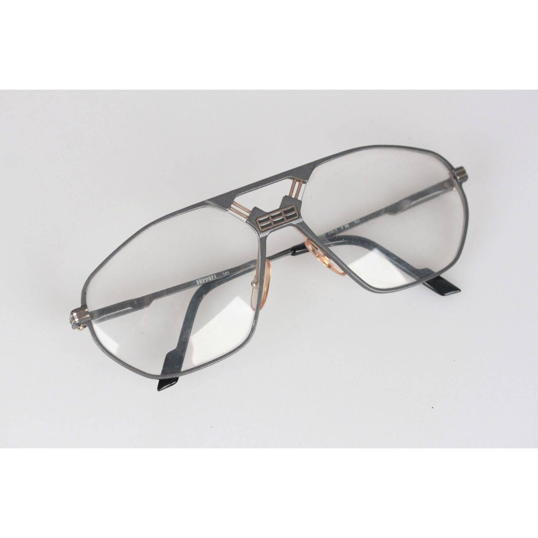 FERRARI Vintage Gray metal MINT FRAME F 22 701 62/15 Eyeglasses NOS ...