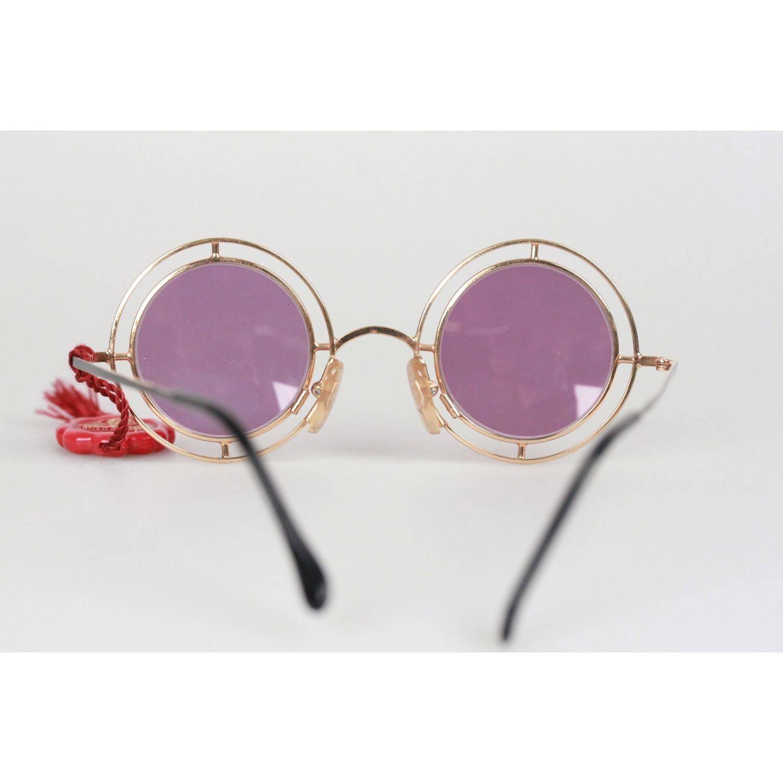 e6a41e2b582f0 Casanova Vintage Rare Round Sunglasses Mod. MTC 2 Gold Plated 33-20 For  Sale at 1stdibs