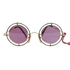 6f5bef3b92 Casanova Vintage Rare Round Sunglasses Mod. MTC 2 Gold Plated 33-20