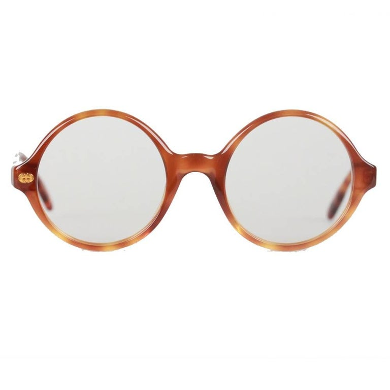 093291fc8 Gucci Vintage Brown Mint Round Frame GG Eyeglasses For Sale at 1stdibs