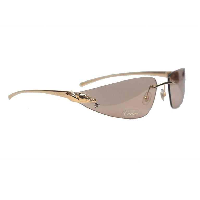 Cartier Paris Sunglasses Panthere T8200611 Gold Brown 110