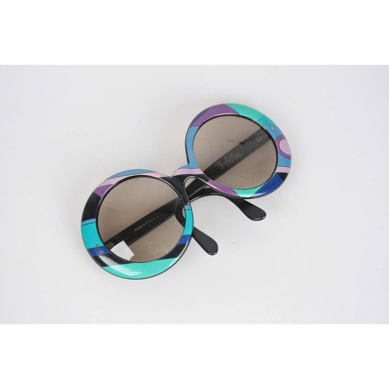 EMILIO PUCCI Rare Vintage multicolor OVERSIZED Round Statement SUNGLASSES In New never worn Condition For Sale In Rome, IT