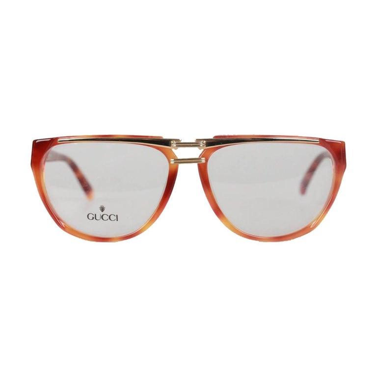 04560ab63f20 Gucci Vintage Brown Gold Eyeglasses Unisex Frame GG 2321 57-15 13 OS For  Sale