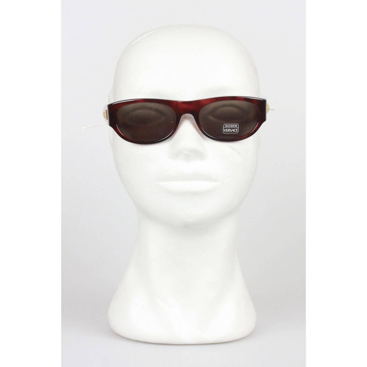 fe3d6f66a989 GIANNI VERSACE MEDUSA Brown Sunglasses 474 A Col 900 52mm NOS For Sale at  1stdibs