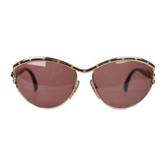 TED LAPIDUS Vintage Gold OVERSIZED Sunglasses with Rhinestones TL 3301 NOS
