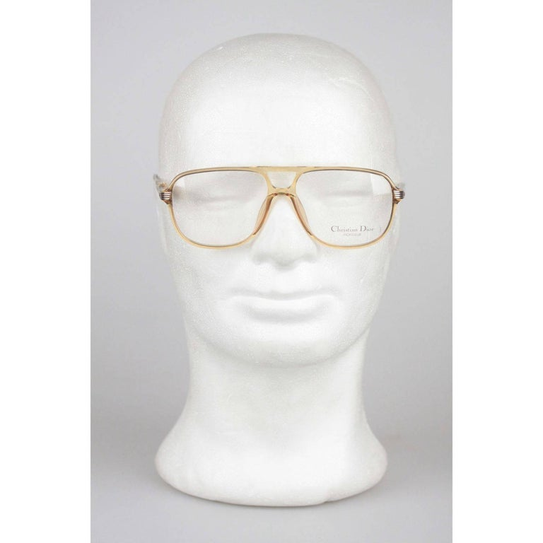 - CHRISTIAN DIOR MONSIEUR eyeglasses, Made in Germany - Rare 1980s cult vintage frame  Honey - light brown semi transparient Aviator shaped Frame DIOR demo/clear original lens Measurements: -Temple lenght: 140 mm - Temple to temple (to the front):