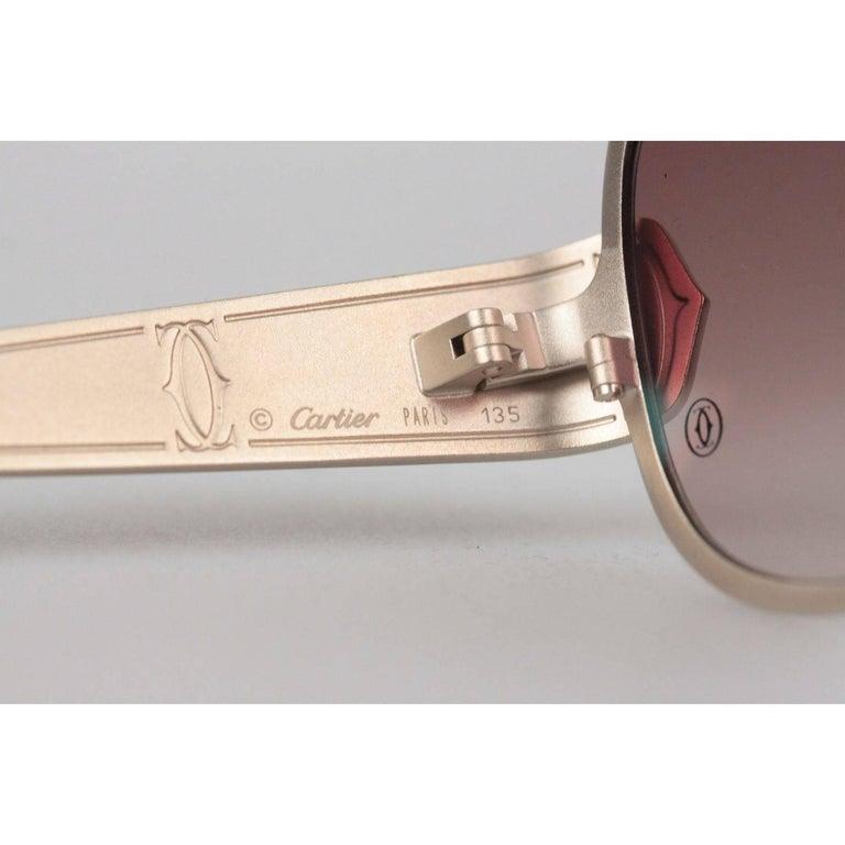 781df79d5399 CARTIER Paris EDITION C de CARTIER T8200724 Gold Beige Leather Sunglasses  For Sale 2