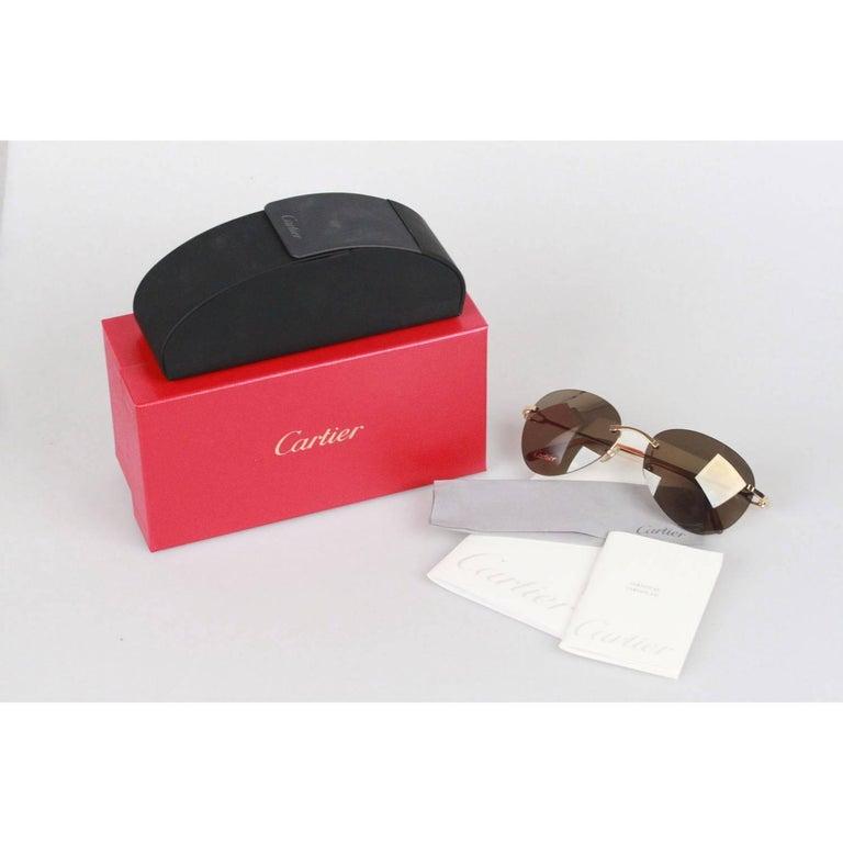 23de6ef7e3a CARTIER Paris Rimless Gold Havana Sunglasses T8200549 58mm 135 NOS ...