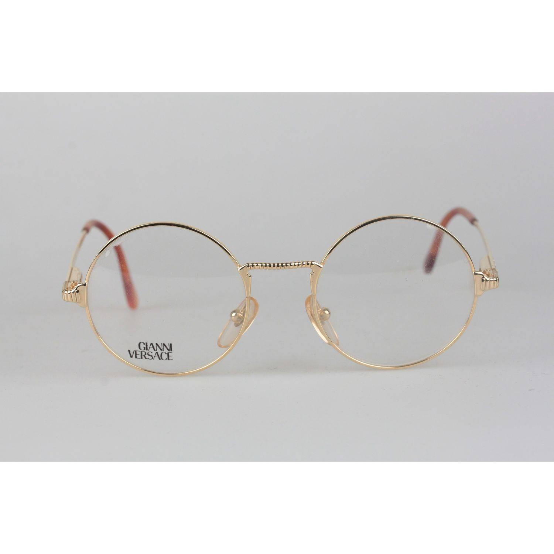 26d0aa6dcc6 Gianni Versace Vintage Gold Metal Round Frame Mod 540 Eyeglasses NOS For  Sale at 1stdibs