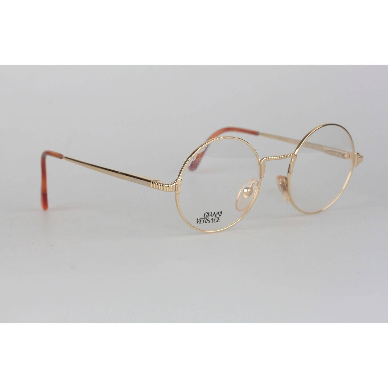 3a7600142a1e Gianni Versace Vintage Gold Metal Round Frame Mod 540 Eyeglasses NOS For  Sale at 1stdibs