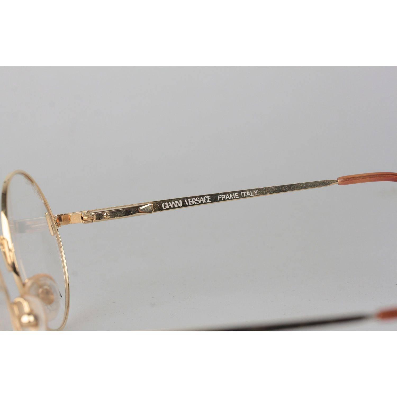 45b141b49b568 Gianni Versace Vintage Gold Metal Round Frame Mod 540 Eyeglasses NOS For  Sale at 1stdibs