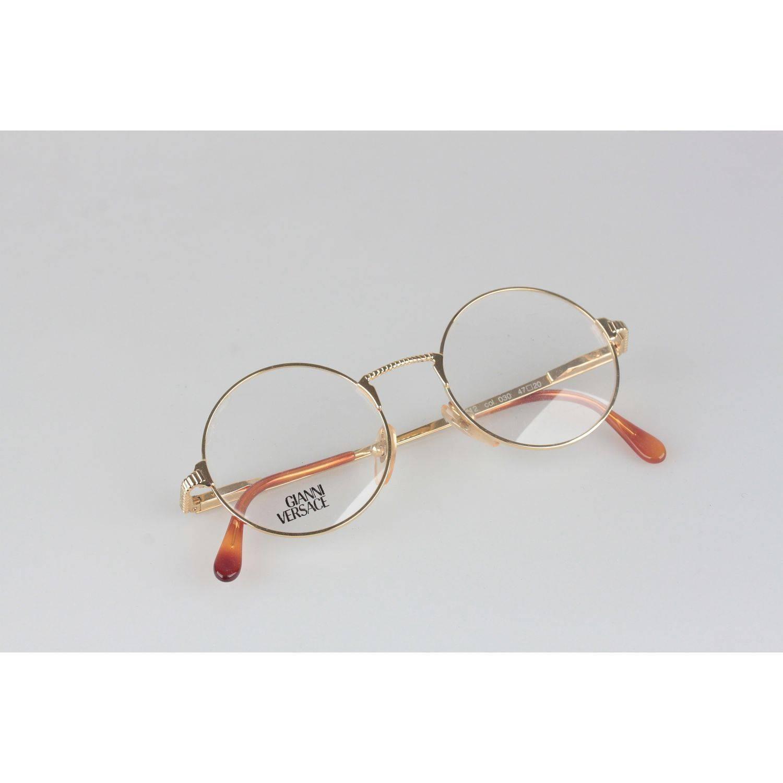 Gianni Versace Vintage Gold Metal Round Frame Mod 540 Eyeglasses NOS ...