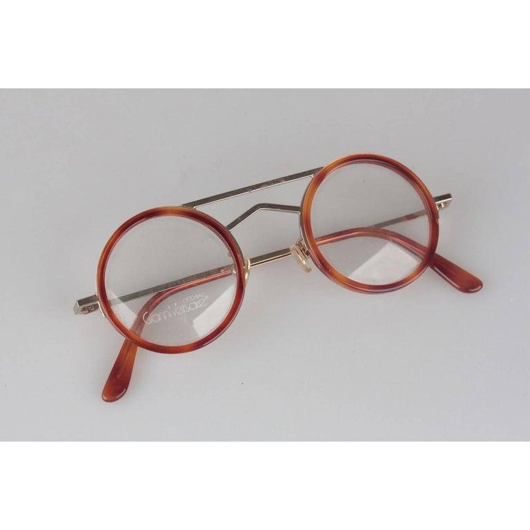 Brown Gianni Versace Vintage Round Tortoise Frame Mod. 620 Col. 943 Eyeglasses For Sale