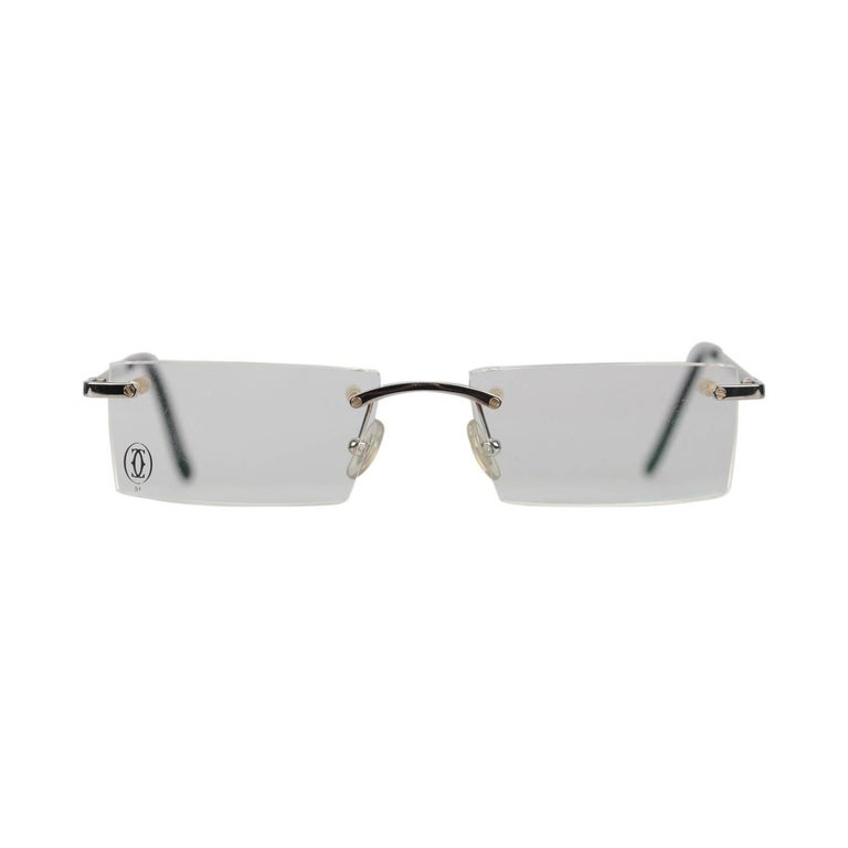 93e83584519 Cartier Paris Rimless Eyeglasses T-Eye T8100716 Titanium 51-17 140mm NOS  For Sale
