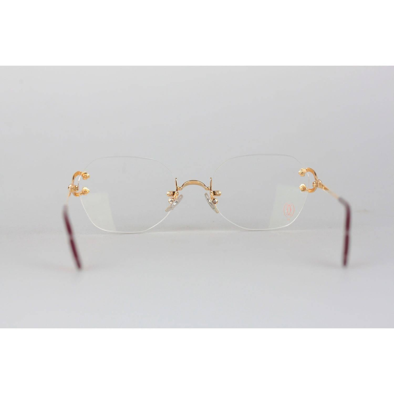 2f0d72188c0 CARTIER Paris Vintage Eyeglasses CHELSEA Gold Rimless Frame 130 Nos For Sale  at 1stdibs