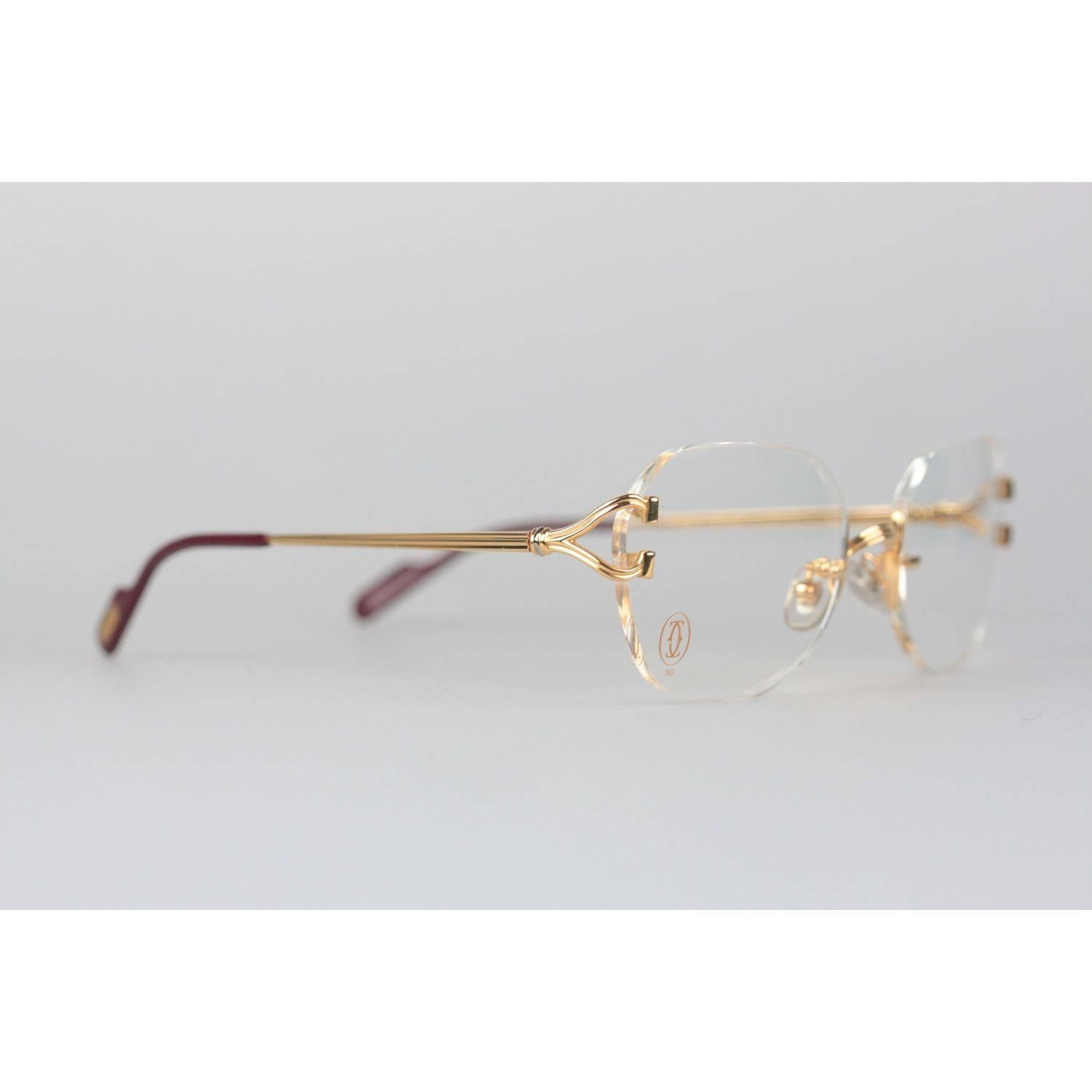 4bbdf4ae43 CARTIER Paris Vintage Eyeglasses CHELSEA Gold Rimless Frame 130 Nos For  Sale at 1stdibs