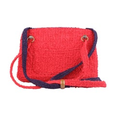 CHANEL Vintage Unique Prototype Red Blue Wool Tweed 1960s Shoulder Bag