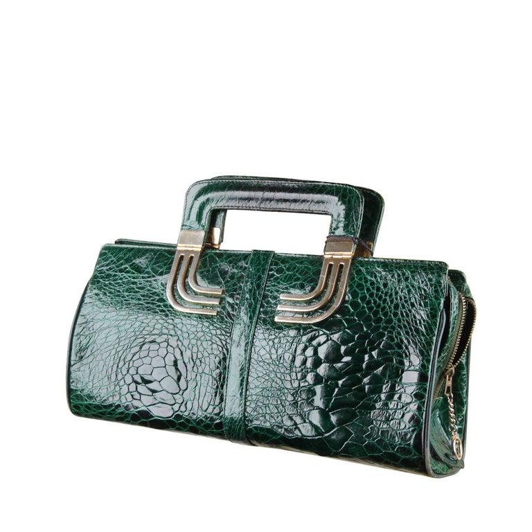 VINTAGE Italian Green Leather TOTE HANDBAG w/ Matching Wallet