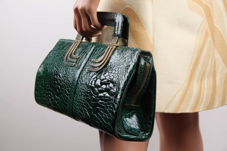 VINTAGE Italian Green Leather TOTE HANDBAG w/ Matching Wallet 1
