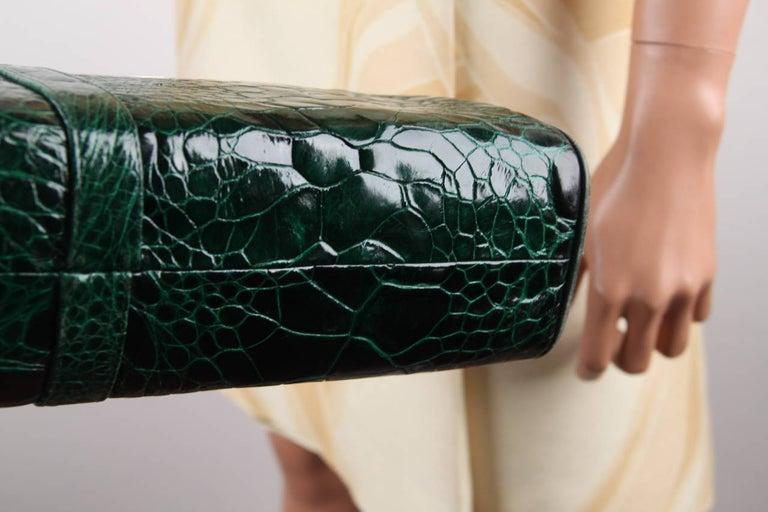 VINTAGE Italian Green Leather TOTE HANDBAG w/ Matching Wallet 3