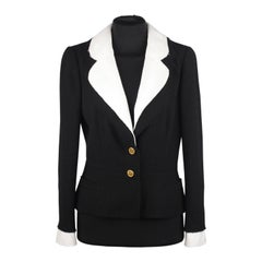 Chanel Black Wool Blend Blazer with Contrast Collar and Cuffs, Spring 2007