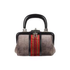 Roberta Di Camerino Vintage Gray Velvet Bagonghi Doctor Bag